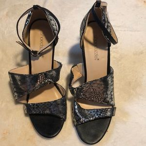 Black and silver heeled sandals